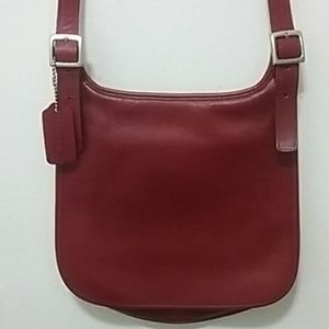 Vintage Coach USA Hippie Red Saddle Flap Crossbody